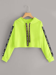 Neon Lime Letter Tape Drawstring Crop HoodieCheck out this Neon Lime Letter Tape Drawstring Crop Hoodie on Romwe and explore more to meet your fashion needs! Neon Outfits, Cute Lazy Outfits, Teenage Outfits, Crop Top Outfits, Retro Outfits, Stylish Outfits, Kids Outfits, Grunge Outfits, Girls Fashion Clothes