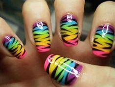Black Tiger stripes over rainbow nails. Free-Hand Nail Art   Gay Pride colors