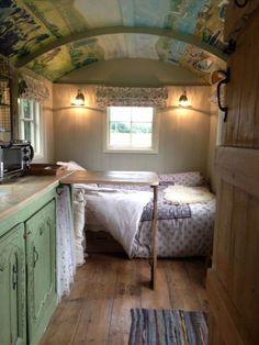 Shepherds Hut Interior Plans Ideas For Holidays Small Tiny House, Tiny House Cabin, Tiny Living, Living Spaces, Glamping, Hut House, Tiny House Company, Shepherds Hut, Play Houses
