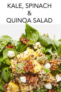 Foods? This Kale, Spinach and Quinoa meal-in-a-bowl is a winner, a green bowl full of super nutritious and delicious stuff (including mango and avocado), tossed in a zesty lemon shallot dressing and topped with spiced walnuts and creamy goat cheese. #BiteMeMore