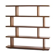 Delicate and airy, yet surprisingly sturdy, this sizable bookshelf lets the light through its perfectly balanced elements. Enjoy its elegant design as a divider to structure a large room while retainin...  Find the Balance Bookshelf in Walnut, as seen in the The Dark Side of Mid-Century Collection at http://dotandbo.com/collections/the-dark-side-of-mid-century?utm_source=pinterest&utm_medium=organic&db_sku=MOE0108