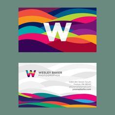 Tarjeta de visita con ondas de colores Vector Gratis