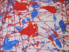 4th of July Craft~ Firework Paint~ Doing this, too! Put white poster paper in the bottom of a cardboard box, squirt a few blobs of blue and red paint on the paper, place small bouncy ball in the box on top of paper and roll the ball around through the paint.