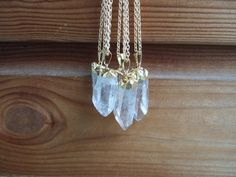 Gold Dipped Quartz Crystal Point Necklace