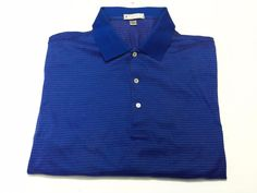 Peter Millar XL Men's Short Sleeve Cotton Golf Polo Blue Red White #PeterMillar #PoloRugby