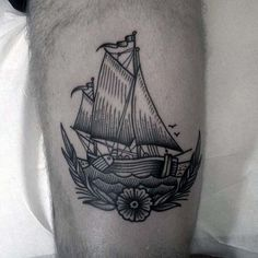 Sailing Ship With Flower Old School Woodcut Male Leg Tattoos