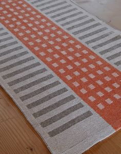 Handwoven Tea Towel- Squares & Stripes Cotton/Linen Tiger /Charcoal