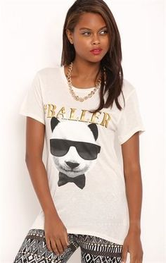 Deb Shops Short Sleeve Drapey Tee Shirt with Baller Panda Sunglasses Screen $10.00