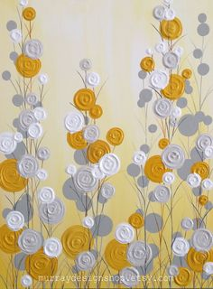 Mustard Yellow and Gray Textured Flower Art - A bright, sunny piece that gives nice contrast to a neutral gray wall. Acrylic Painting on Canvas