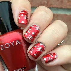 Wrapping paper nail art. @zoyanailpolish Ember stamped with @essiepolish No Place Like Chrome using Cheeky plate 6.