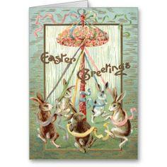 Easter Bunny Maypole Dance Ribbon Greeting Card