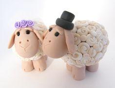 sheep wedding cake topper, ewe bride and groom. via Etsy.