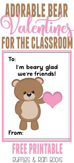 Get these oh, so adorable FREE bear Valentine's Day cards for kids printable. #ValentinesDay #valentines #valentinesforkids #valentinesdayards #bear #woodlandanimal via @momtoelise