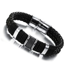 Fashion Jewelry Handmade Accessories Genuine Leather Weaved  Bracelets Casual Bangles Bicycle Motorcycle Gift for Cool Men PH891