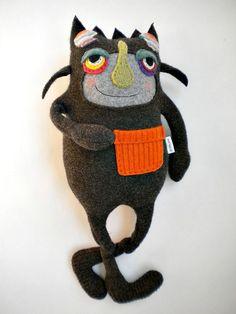 Stuffed Animal Halloween Monster Upcycled Wool Felted ...