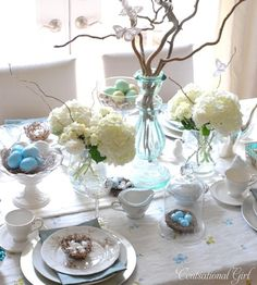 Easter Table Setting with Egg Tree Centerpiece | Pinterest | Easter ...