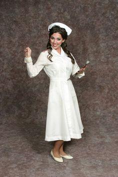 $25.00 Nurse white dress, nurse hat, red belt