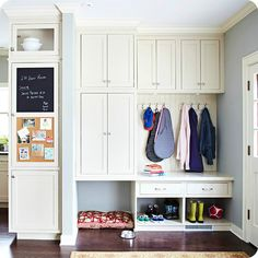 Makeshift Mudrooms and other Drop Zones.  It is my dream to redo my utility/laundry/mud room some day (its between the garage and kitchen, so pinning it here).   Its so cramped, something like THIS would be perfect.