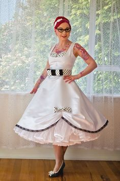 1950s Pin Up 'Audrey' Wedding Dress in a with Polka by PixiePocket, $345.00  Rock-a-Billy Wedding