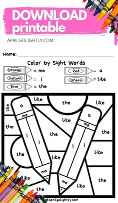 Back to School Basic Sight Words - FREE Printable - April Golightly Basic Sight Words, Fry Sight Words, Back To School Worksheets, Worksheets For Kids, Teaching Kids, Kids Learning, Sight Word Coloring, Kids Play Spaces, School Coloring Pages