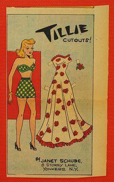 Vintage Newspaper Paper Doll, 1930-50, Vintage Paper Ephemera, Collectible. $3.50, via Etsy.