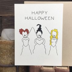 "I put a spell on you, and now you're mine. Happy Halloween from you're favorite witches, the Sanderson Sisters. ""Happy Halloween"" Inside: [Blank] Luxe Cream, Professional Folded Stock Card x Halloween Items, Halloween Cards, Spooky Halloween, Happy Halloween, Halloween Decorations, Funny Halloween, Halloween Tricks, Halloween Doodle, Envelope Art"