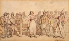 """Selling a Wife (1812–14), by Thomas Rowlandson. The painting gives the viewer the impression that the wife was a willing party to the sale, which was """"a genial affair"""" marked by laughter."""