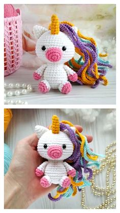 Crochet Unicorn Pattern Free, Crochet Animal Patterns, Crochet Animals, Free Crochet, Free Pattern, Crochet Gifts, Crochet Dolls, Crochet Ornaments, Crochet Projects