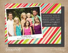 "Simple but fun with the striped background  Photo Christmas Card (Digital or Printed)- ""Snapshot"""