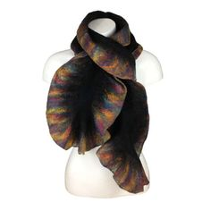 Black wet felted scarf with rainbow ruffled border