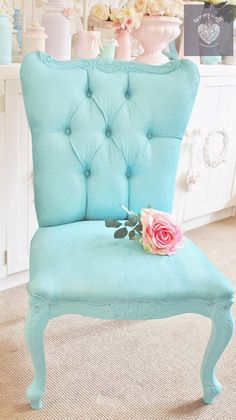 Shabby Chic Sugar Paint pastel coloured  painted chair in Beautiful Blue Colour By Luv My Stuff  www.luvmystuff.com.au