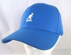 e6ca409c2da KANGOL Wool HAT Kangaroo Logo NEW Blue Flexfit Elastic Sz Adult S M  Baseball CAP