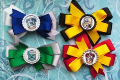 Your place to buy and sell all things handmade Harry Potter Accessories, Hair Accessories, Harry Potter Ornaments, Harry Potter Bday, Custom Bows, Hair Grips, Ribbon Crafts, Diy Projects, Project Ideas