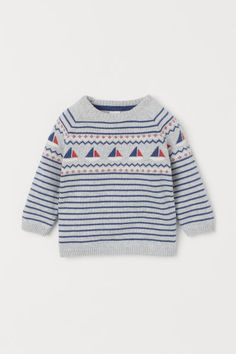 Jacquard-knit Cotton Sweater Baby Boy Outfits, Kids Outfits, Cotton Jumper, Red And White Stripes, Fashion Company, Baby Bjorn, Personal Style, Cotton Fabric, Knitting