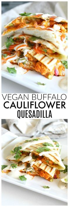 Spice up your next lunch with this Vegan Buffalo Cauliflower Quesadillas. A creamy, spicy combo of marinated cauliflower, vegan ranch and buffalo sauce | ThisSavoryVegan.com #veganRecipe #veganDishes
