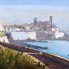 Antibes old town with its two distinctive towers from towards Salis beach. #Watercolour #Sketching #Antibes