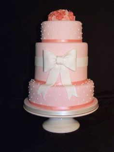 Pink Vintage Polka Dot Bow Wedding Cake