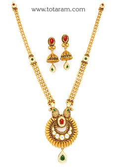 22K Gold Long Antique Necklace & Drop Earrings Set with Stones - GS2841 - Indian Jewelry Designs from Totaram Jewelers