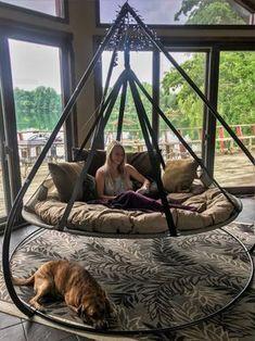 Outdoor Hammock Chair, Hanging Hammock, Hammock Stand, Hammock Ideas, Hanging Beds, Hanging Chair, Outdoor Hanging Bed, Backyard Hammock, Outdoor Swing Beds