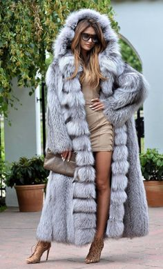 NEW Platinum FOX Long FUR Coat Hood Class Chinchilla Sable Jacket Mink Silver | eBay
