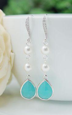 Earrings Swarovski Pearls with Mint Opal Glass drop Earrings