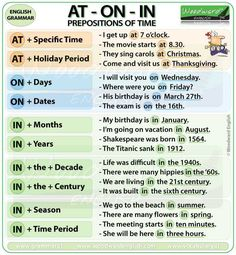 prepositions of time at on in english grammar notes on Prepositions With  Images