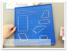 "Math workstation- make quadrilaterals and take picture with iPad. This is a great hands on activity. It allows students to work with CCSS that asks them to ""draw"" polygons--this allows them to ""draw"" them in a unique way Geometry Lessons, Geometry Activities, Math Lessons, Teaching Shapes, Teaching Math, Math Coach, Math Projects, Third Grade Math, Elementary Math"