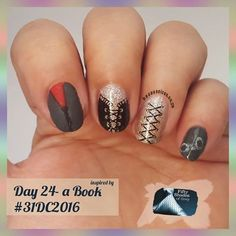 "Day 24 - inspired by a book #31dc2016 --------------------- - - - -  I chose "" 50 shades of Grey"" --------------------------- - - - - -  Used #icebox - pomodoro ice ,  #LAGIRL -  blackout , #LAGIRL -  3D Holo,  #beautysecrets -  winter Grey,  #wetnwild -  matte top coat . 🔱 stamped using #bundlemonsterplates -  bm-416 + bm-420. 😊😊😊😊 #mahnails #nailsoftheday #nailart  #nails #glitter #challenge #beauty #nag_repost #instanails #instacute  #love #inspired #50shadesofgrey #grey #bootcamp…"