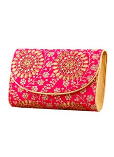 The Purple Sack presents to you this clutch in pink you need to liven up that fancy night party. A beautiful affair of pale gold gotapatti on rani pink raw silk makes this an extravagant affair, and just the correct and classy splurge of colour. After all, one could never get enough of the pink power in their wardrobe, could they!
