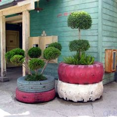 Got old tires...spray paint them and make them planters...what a great idea!