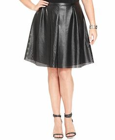 Calvin Klein Plus Size Perforated Faux-Leather A-Line Skirt - Plus Size Skirts - Plus Sizes - Macy's