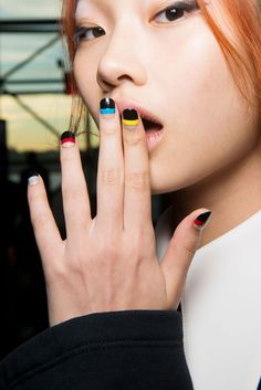 Opening Ceremony's Pageant to the People runway show featured graphic nails by Naomi Yasuda for China Glaze. #NYFW
