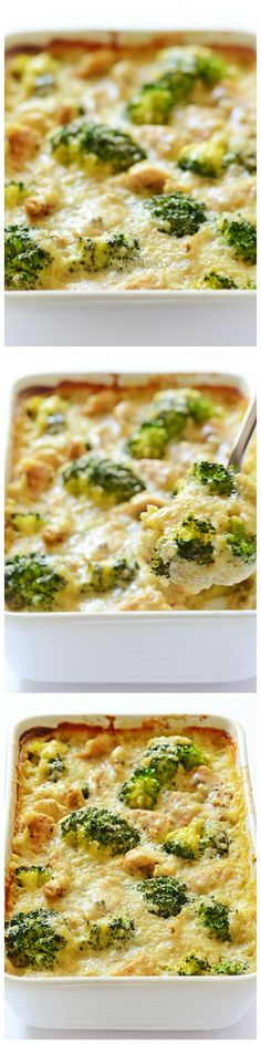 Chicken, Quinoa and Broccoli Casserole: creamy sauce + seasoned chicken breast strips + healthy quinoa and broccoli + melting cheese topping = perfection!
