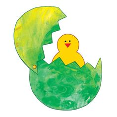 Easter Art -- Finger paint, cut into egg shape, add brad fastener and chick Preschool Projects, Classroom Crafts, Easter Activities, Preschool Crafts, Projects For Kids, Art Projects, Egg Crafts, Easter Crafts, Arts And Crafts